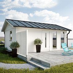 Køb JABO Flex modul Hytte 25 m² Basissæt - se pris her Cottage Porch, Backyard Cottage, Roof Design, House Design, Surf House, Cottages And Bungalows, French Style Homes, Wooden Sheds, Surf Shack