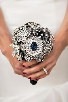 24 Chic Brooch Wedding Bouquets With Bling ❤ See more: http://www.weddingforward.com/brooch-wedding-bouquets/ #weddings #bouquet