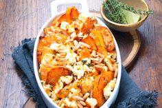 Süßkartoffel-Auflauf mit Pinienkernen