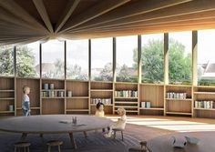 Image 13 of 14 from gallery of Kengo Kuma and Cornelius+Vöge Release Plans for Hans Christian Andersen Museum in Odense. Courtesy of Kengo Kuma & Associates, Cornelius+Vöge, and MASU planning Timber Architecture, Cultural Architecture, School Architecture, Architecture Design, Architecture Interiors, Odense, Kengo Kuma, Interior Rendering, Interior Design