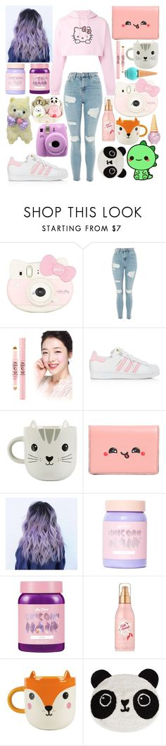 """""""Kawaii"""" by x-tara-jesse-x ❤ liked on Polyvore featuring Etude House, Hello Kitty, Topshop, adidas, Sass & Belle, Anya Hindmarch, Lime Crime and Fujifilm"""