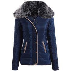 Long Sleeve Pocket Design Winter Padded Coat Jacket (80 PLN) ❤ liked on Polyvore featuring outerwear, jackets, rosegal, padded coat, blue jackets and long sleeve jacket