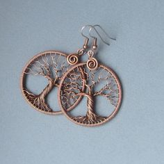 Tree of Life earrings Wire wrapped cupper and ear by MagicWire