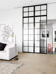 sliding window door minimal interior golden detail