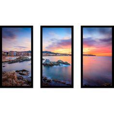 "PicturePerfectInternational 'Sunset Over Lloret de Mar, Catalonia, Spain' 3 Piece Framed Photographic Print Set Size: 25.5"" H x 40.5"" W x 1"" D"