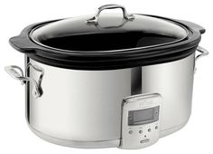 All-Clad - 6.5-Quart Slow Cooker - Stainless Steel/Black (Silver/Black)
