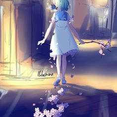 «Wip~~~ the bg is gunna kill me i never actually drew a bg like thhis before! Anime School Girl, Anime Art Girl, Anime Girls, Sad Anime, Manga Anime, Anime Flower, Anime Galaxy, Kawaii Chibi, Kawaii Art