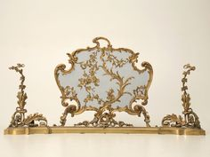 French Antique Rococo Style Bronze Fireplace Set