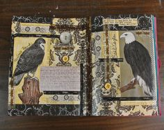 Blackbird, Blue Bird Art Book by Becky Roesler, Art Journal layout 16.  www.retrofitstyle.com