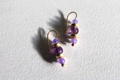 PURPLE & GOLD EARRINGS with Lilac Quartz Beads Classic Simplicity, Elegant,