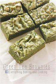 ~ Everything Baking and Cooking ~: White Chocolate Green Tea Brownies / กรีนนี่… Green Tea Dessert, Matcha Dessert, Best Brownie Recipe, Brownie Recipes, Green Tea Recipes, Sweet Recipes, Bakery Recipes, Dessert Recipes, Desserts