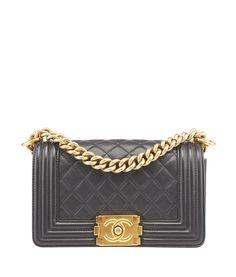 Chanel Boy Flap Black Quilted Lambskin Leather Shoulder Bag