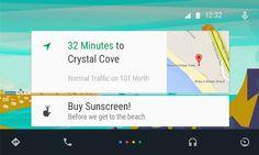 #GoogleAuto Mockup. Card based UI with bottom nav bar.