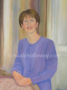 """""""Portrait of Mary McAleese"""" by Nuala Holloway - Oil on Canvas #IrishPresident #IrishArt #OilPainting #Portrait"""