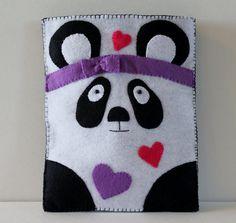 Panda Ipad Pouch - iPad case - iPad bag - iPad covers - iPad Sleeve - Handmade felt iPad Sleeve