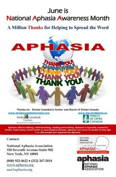is National Month! A million thanks for helping to spread the word! Aphasia is often considered one of the symptoms of National Awareness Months, March Of Dimes, End The Stigma, Aphasia, Snap Out Of It, Disability Awareness, Brain Fog, Cancer, June