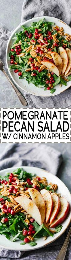 Pomegranate Pecan Salad w/ Cinnamon Apples! SO good and all the winter feels. Vegan, vegetarian, gluten-free, and under 10 minutes! Healthy Salad Recipes, Veggie Recipes, Whole Food Recipes, Vegetarian Recipes, Vegan Vegetarian, Cooking Recipes, Dishes Recipes, Delicious Recipes, Easy Recipes