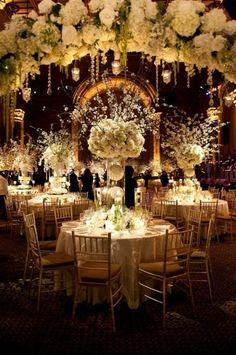Wedding reception white flower Centerpiece ishanidharma
