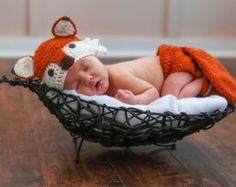 Crochet fox Hat and Diaper Cover Fox Hat Fox by NewArrivalsByStef