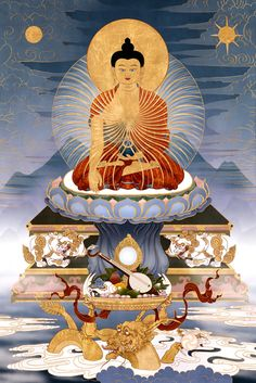 Shakyamuni Buddha In this image Shakyamuni Buddha is show seated high above a distant mountain range seated upon a throne of a lotus with sun and moon cushions, supported by eight great lions. The elements of the lotus, moon and sun represent the Three Principal Paths of Buddhism, namely renunciation, the wish for enlightenment and correct view of emptiness. Each of these paths have been perfectly elucidated by Je Tsongkapa in His Lam Rim text of the same name: The Three Principal Paths.