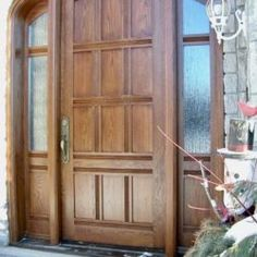 Side Light Entry Doors | Amberwood Doors Inc. Main Entrance Door Design, Wooden Main Door Design, Entrance Doors, Modern Wooden Doors, Double Doors Exterior, Modern Farmhouse Exterior, Back Doors, House Design, Front Porches