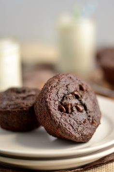 Healthy eating made delicious! 100% Whole Wheat Double Chocolate Chip Muffins - super moist and don't taste whole wheat at all! From texanerin.com.