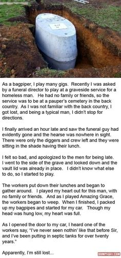 A beautiful story of a bagpiper who was late for a funeral