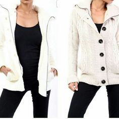 Faux fur lined knit sweater - L Nwt. Can fit M/L. Faux fur inside a comfy knit cardigan. Zipper and button closure. Hood and Pockets. Color is a bright Ivory.  No Paypal No Trades Price firm unless bundled Jackets & Coats