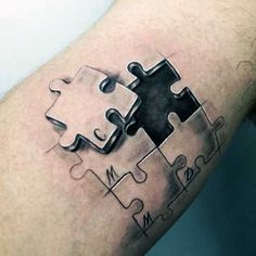 Matching Puzzle Piece Tattoos For Men On Bicep