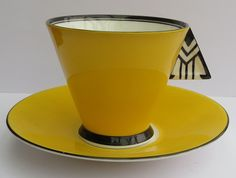 SUPERB RARE SHELLEY VOGUE SHAPE CHEVRON HANDLE COFFEE CUP & SAUCER A/F in Pottery, Porcelain & Glass, Porcelain/ China, Shelley, Tableware   eBay