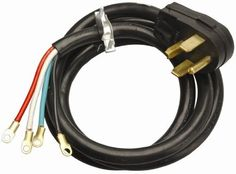 Coleman Cable 09154 4-Feet 30-Amp 4-Wire Dryer Power Cord by Coleman Cable. $14.52. From the Manufacturer                Coleman Cable 09154 4-Foot 30-Amp 4-Wire Dryer Power Cord. This cord is designed specifically for large appliances. It has thick vinyl insulation with a right angle male plug. The strain relief clamp helps prevent cord damage. The plug has a prong (known as a conductor) for each wire, 4 wires gives you a plug with 4 prongs. Hardware is included for the strain ...