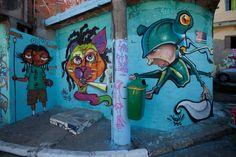 Com trabalho coletivo, moradores e artistas levam cores para espaços degradados.