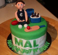 AFL Football Cricket Cake perfect for Kohan Carlton Football Club, Cricket Cake, Sports Party, Cake Images, Party Cakes, Birthday Cake, Birthday Ideas, Projects To Try, Snacks