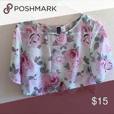 Floral Boxy Top Sheer white top with pink floral pattern. Boxy fit. In excellent condition, only worn once. H&M Divided Tops