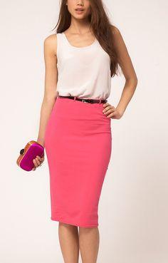 Fushcia Figure-hugging Belted Cotton Skirt