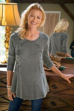 """Camden Top from Soft Surroundings. Uncommonly pretty waffle-knit top is dyed in a special process for a distinctive vintage appearance, and highlighted with swirly self-soutache. A chic getaway look with long raglan sleeves, curved hem and a flattering, flowy shape. Cotton. Misses 28-1/2"""" long."""