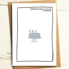 Congratulations on having a birthday, have a cake, twat - Brutally Honest Cards | Everyone has one | Passive aggressive birthday card by iamstevestewart on Etsy