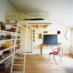 i'd LOVE to do a kids room like this...or a teens room...don't want littles falling out of bed <3