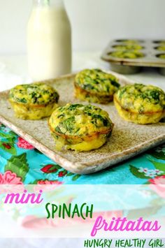 {Mini Frittatas} No need to waste time making breakfast in the morning- bake these mini spinach frittatas in advance and you'll have a prote...