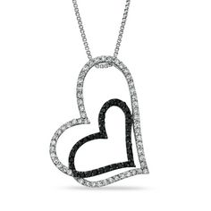 1/3 CT. T.W. Enhanced Black and White Diamond Double Heart Outline Pendant in Sterling Silver - Zales