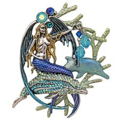 Moonlight Mermaid Pin/Pendant (Antique Silvertone)