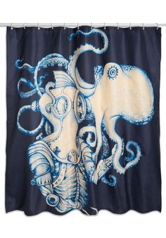 Underwater Introduction Shower Curtain. Greet each day with a wave of quirky, nautical flair by hanging this navy shower curtain in your bathroom! #multi #modcloth