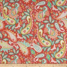 Riley Blake Home Decor Sweet Floral Red from @fabricdotcom  Screen printed on lightweight cotton duck, this versatile fabric is designed by Zoe Pearn Designs for Riley Blake Designs. Perfect for window accents (draperies, valances, curtains and swags), accent pillows, duvet covers and some upholstery projects. Create handbags, tote bags, aprons and more. Colors include coral, pink, peach, mint, green, citron, orange, and white.