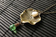 Lily Pad Charm Necklace in Bronze with by StumblingOnSainthood, $28.00