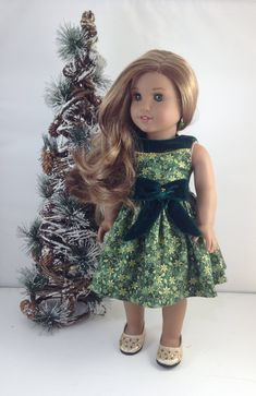 Christmas Dress and Shoes for American Girl dolls, Mj's Sewing Doll Clothes, Girl Doll Clothes, Doll Clothes Patterns, Girl Dolls, Doll Patterns, Girls Christmas Outfits, Holiday Outfits, Holiday Wear, Christmas Dresses