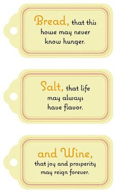 """A Housewarming Gift tags for bread, salt and wine -- from """"It's a Wonderful Life."""""""