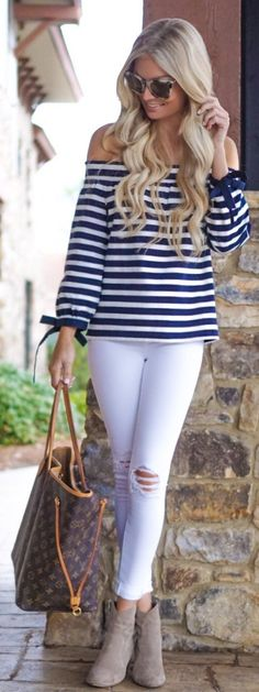 #spring #fashion /  Striped Off Shoulder Knit / White Ripped Skinny Jeans / Grey Suede Booties