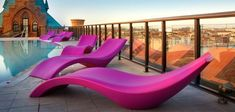 """There is no need to adjust the back or foot rest on the """"Cloe"""" mono block super modern patio and pool lounger from MYYOUR Chaise Longue Design, Design Lounge, Modern Pools, Modern Patio, Modern Decor, Outdoor Furniture Inspiration, Poolside Furniture, Pink Furniture, Modern Furniture"""