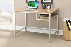 Writing Desk with Wooden Top in Silver Metal Finish