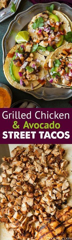 Grilled Chicken and Avocado Street Tacos - Cooking Classy: - sans tortillas (Favorite Recipes Crockpot) Think Food, I Love Food, Food For Thought, Good Food, Yummy Food, Gourmet Burger, Gourmet Sandwiches, Sandwich Recipes, Grilled Sandwich